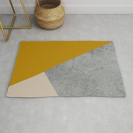 MUSTARD NUDE GRAY GEOMETRIC COLOR BLOCK Rug