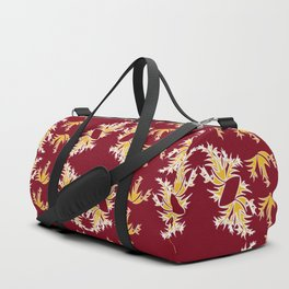 Maroon, Gold and White Floral Trio Duffle Bag