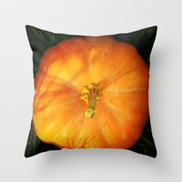 pumpkin Throw Pillows featuring Pumpkin ^_^ by Julia Kovtunyak