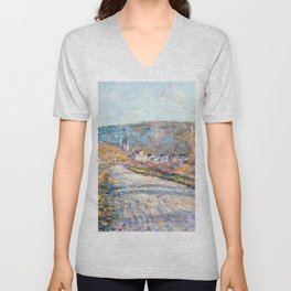1879-Claude Monet-The Road to Vétheuil-23 x 28 Unisex V-Neck