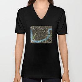 New Orleans City Map Unisex V-Neck