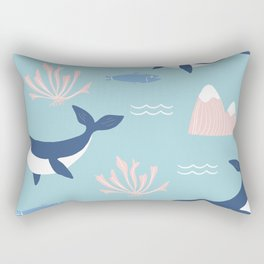 Pacific Northwest Pattern with Orcas Rectangular Pillow