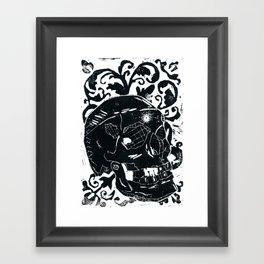 Black Lino Skull Framed Art Print