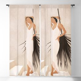 Minimal Woman with a Palm Leaf Blackout Curtain