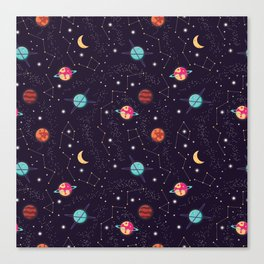 Universe with planets and stars seamless pattern, cosmos starry night sky 004 Canvas Print