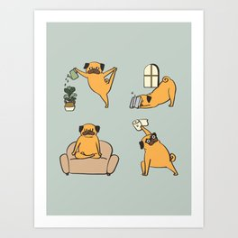 Pug Yoga at Home Art Print