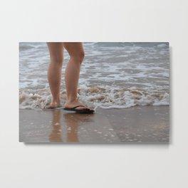 Stepping On the Beach Metal Print