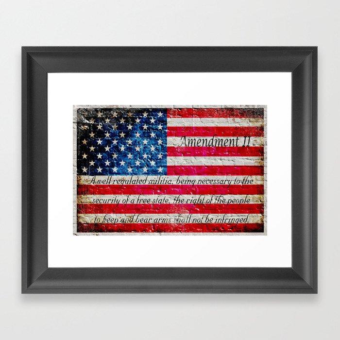 Distressed American Flag and 2nd Amendment On White Bricks Wall ...