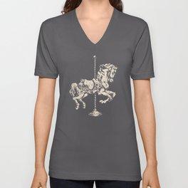 Vintage Carousel Horse - Mulberry Unisex V-Neck