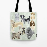 dogs Tote Bags featuring Dogs by Augustwren