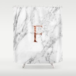 Monogram rose gold marble F Shower Curtain