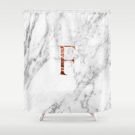 Monogram rose gold marble F Shower Curtain