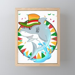 Cinco De Mayo Funny Shark With Mexican Hat T-Shirt Framed Mini Art Print