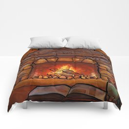 Fireplace (Winter Warming Image) Comforters