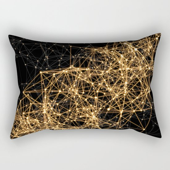 Shiny golden dots connected lines on black Rectangular Pillow
