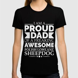 Proud dad polish lowland sheepdog Dog Dad Owner Father's Day T-shirt