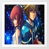 kingdom hearts Art Prints featuring KINGDOM OF HEARTS by Cat Milchard