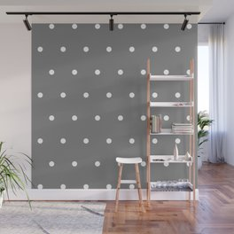 Grey With White Polka Dots Pattern Wall Mural