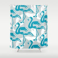 flamingos Shower Curtains featuring Flamingos by Heather Fraser