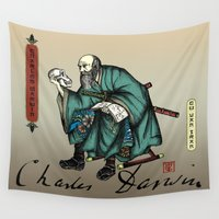 darwin Wall Tapestries featuring Samurai Charles Darwin by QStar