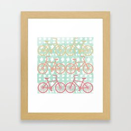 Oui Oui Mon Cheri Throw Pillow with Bicycles and Stars Framed Art Print