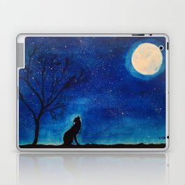 Starry Blues Wolf original watercolor Laptop & iPad Skin