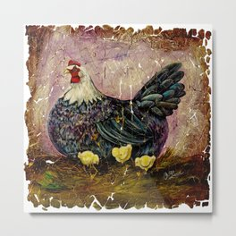 Vintage  Blue Hen with Chicks Fresco Metal Print
