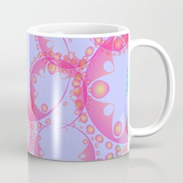 Abstract pastel pattern from azure soap bubbles and gears in lilac decoration on a blue background. Coffee Mug