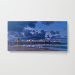 Pier Lights at Dawn Metal Print