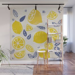 Fun and Kitschy Lemon Pattern on White Wall Mural
