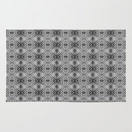 Black and White Graphic Abstract Diamond Mosaic Snake Skin Rug