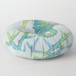 Neon Seahorse Floor Pillow