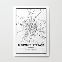 Clermont - Ferrand Light City Map Metal Print