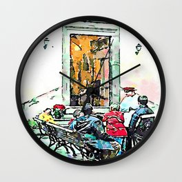 Barbarano Romano: the bench Wall Clock