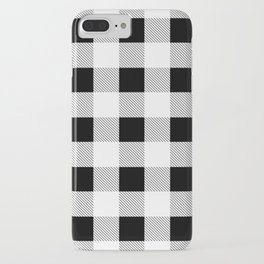 western country french farmhouse black and white plaid tartan gingham print iPhone Case