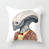 xenomorph Throw Pillows featuring Xenomorph by Monsters in Plaid