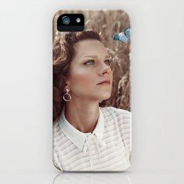 Blue Butterfly Portrait iPhone Case
