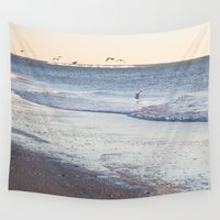 birdy Wall Tapestries featuring Birdy Beach  by Caroline Fahey