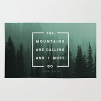 mountains Area & Throw Rugs featuring The Mountains are Calling by Zeke Tucker