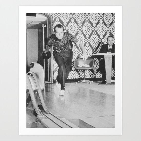 President Richard Nixon Bowling At The White House by warishellstore
