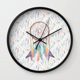 Gypsy Dreams Dreamcatcher on White Wall Clock