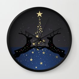 Champagne Gold Star Christmas Tree with Magical Reindeers | Dreamy Blue Wall Clock
