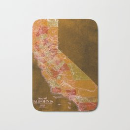 California Los Angeles old vintage map. Orange vintage poster for office decoration Bath Mat