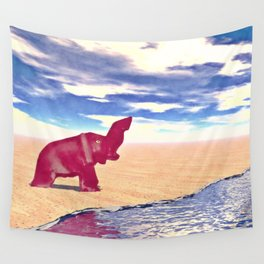 Desert Elephant Quest For Water Wall Tapestry