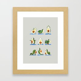 Avocado Yoga Watercolor Framed Art Print