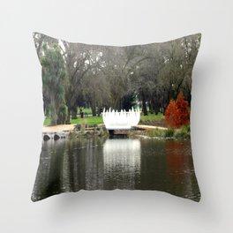Swan Bridge Throw Pillow