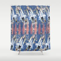 rocket Shower Curtains featuring Rocket by AnnaW