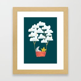 Hot cloud baloon - moon and star Framed Art Print