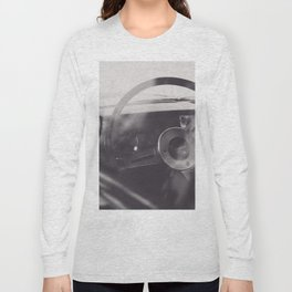 Black & white macro photo of steering wheel from a british car. Classy fine art Triumph Spitfire. Re Long Sleeve T-shirt
