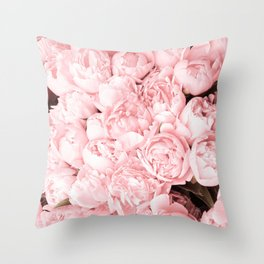 I love Pink Roses pastel photography Throw Pillow